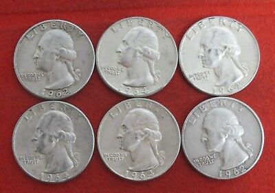 1962S 1962 1964   Washington Quarter Silver Coin LOT OF 6