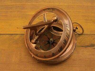 Beautiful Solid Bronzed Brass Pocket Compass Sundial F.barker & Son 1904 London