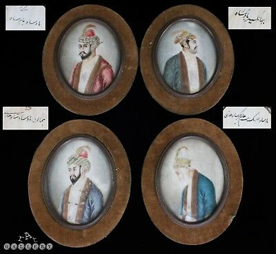 Antique Group Of Persian / Mughal Miniature Painting Portraits 19th century