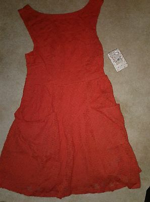SALE! NWT Free People Lace Poppy Dress  Persimmon Fit & Flare w/ Pockets Small!