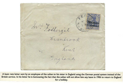 Marokko 1906 Employee Of The Sultan  Cover Fes To England Rare Brief