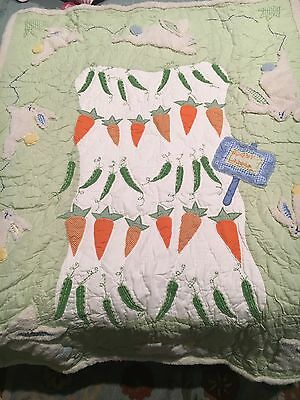 Set New Pottery Barn Carrot Patch Rabbits Quilt Crib Bumper Mobile & 2 Valances