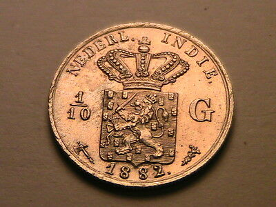1882 INDONESIA Netherlands Indies 1/10 Gulden Ch PL BU near Gem Silver Coin