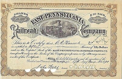 Nmstampsnstuff: 1890 - East Pennsylvania Railroad - Issued Certificate