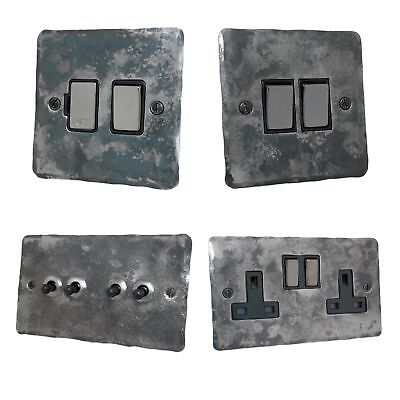 Rustic Silver Flat Plate FR3 Light Switches, Plug Sockets, Dimmers, Cooker, Fuse