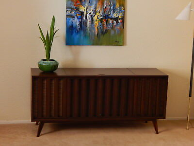 Mid Century Vintage Zenith Console Stereo Credenza Record Player Danish Modern