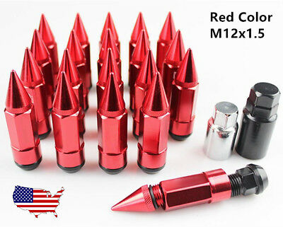M12*1.5 Red Lug Nuts Wheel Racing Steel+Aluminum with Extended Spike Tuner 20pcs