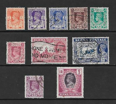 1938 King George VI SG18a to SG30 short set of 10 stamps Mainly Used BURMA