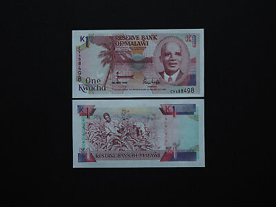 Malawi  Banknotes 1 Kwacha Stunning 1992 Issue  -  Excellent images   MINT UNC