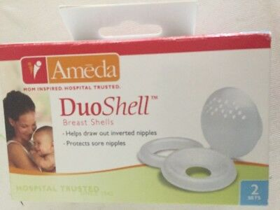 New Ameda Duoshell Aerated Breast Shells Flat Inverted Sore Nipple Protection