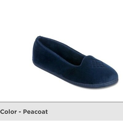 Dearfoams Slippers Womens S 5 - 6 Blue Velour Clog House Shoes In/Out Soles NEW