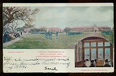 "1906 Fortress Monroe,VA Hotel Chamberlin Troops ""Dress Parade"" Postcard"