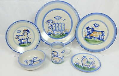 (1) 6 Pc. Place Setting MA Hadley Pottery Dinnerware Blue Country Scene Cat Cow+