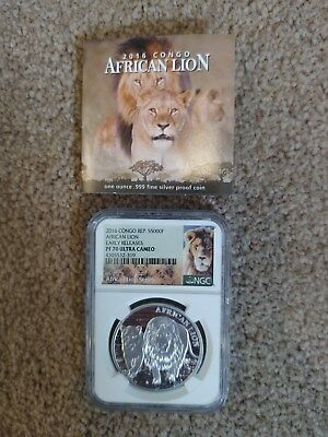 2016 Congo Silver African Lion Early Releases PROOF NGC PF70 ULTRA CAMEO MINTAGE