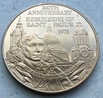 Rebuilding Of St. Paul's Cathedral Church London St. Christopher Wren Coin Medal