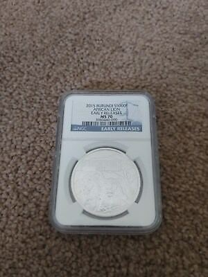 2015 Burundi Silver African Lion Early Releases NGC MS70 1oz .999