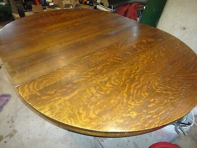 "Antique Beefy Solid Quartersawn Oak 54"" Round to 77"" Oval Table + 2 Leaves NICE"