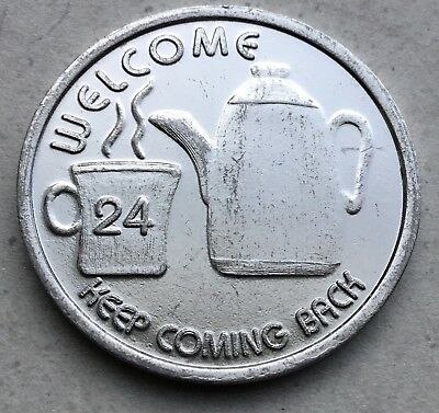 Welcome Coffee Pot Shop Cafe There Are No Strangers Here Token Coin Medal