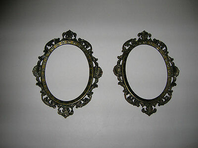 """Vintage 5"""" Victorian Brass Oval Picture Frames - Lot Of 2 - Made In Italy"""