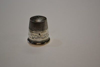 "Near Mint  ""DOMESTIC SEW. MACH.""  Sterling Thimble"