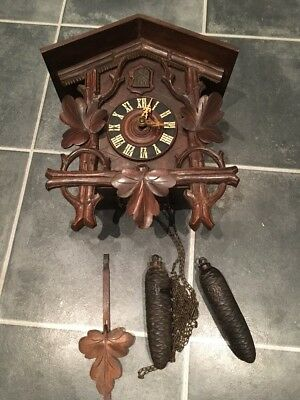 Antique Cuckoo Clock Spares Or Repair Black Forest 2.5 Lb Weights