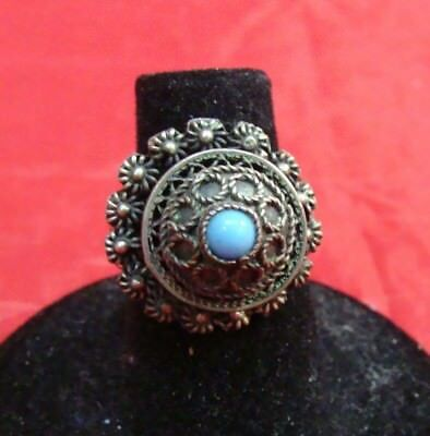 Antique Vtg Faux Turquoise Silver Poison Box Locket Adj Dome Ring Hinged Lid