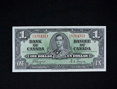 1937 Bank of Canada $1 One Dollar Note Nice CU No Folds
