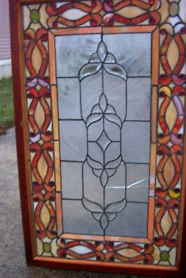 Stained Glass Window In Wood Frame ~ Ruby Jewels~Custard Border~Crack Panels
