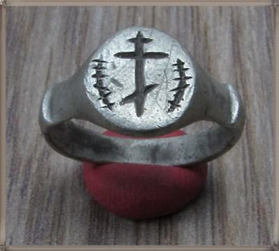 Ancient Silver Byzantine  Ring ** CROSS ** VERY RARE**