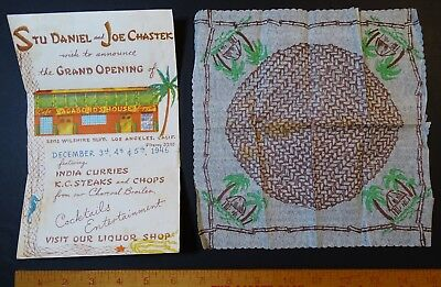 RARE Vintage Advertising Flyer Grand Opening- Vagabond House Los Angeles CA 1946