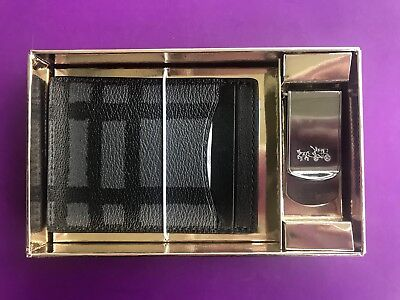 COACH Mens 3 in 1 Card Case Wild Plaid Print GIFT SET Box F22535 NEW In The Box