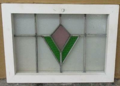"OLD ENGLISH LEADED STAINED GLASS WINDOW Delightful Geometric 18.5"" x 13.25"""