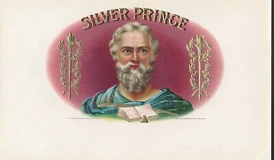 SILVER PRINCE Vintage Inner Cigar Box Label = Embossed Beauty! MINT NOS