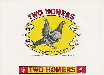 TWO HOMERS Vintage Inner Cigar Box Label = Embossed Beauty! MINT NOS