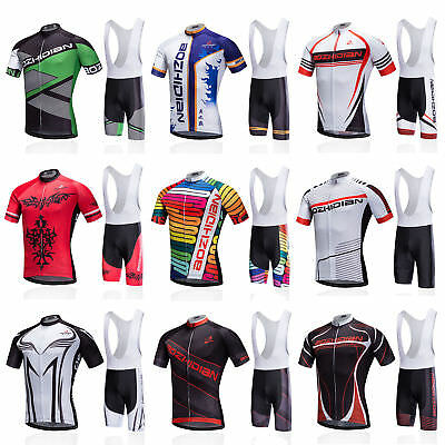 Men's Cycling Bib Kit Bike Bicycle Jersey Shirt and Padded Bib Shorts Set S-5XL