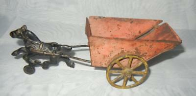 """7"""" Antique Cast Iron Horse and Steel Tin Cart Toy"""