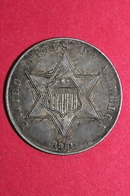 1861 Seated Liberty Trime 3 Cent High Grade Silver Fast FREE Shipping OCE 030