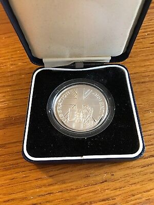 FALKLAND ISLANDS 50 PENCE SILVER PROOF 14th JUNE 1982 LIBERATION (ONLY 25,000)