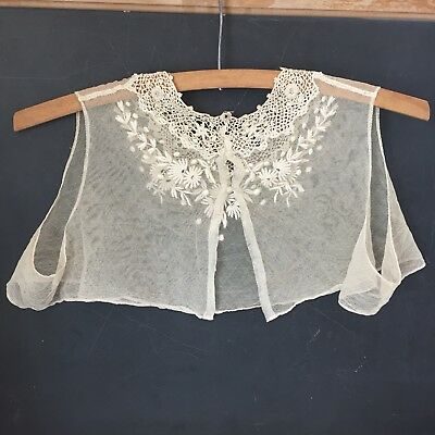 Lovely Vintage netting w/ embroidery & crochet vest type Overblouse Victorian ?