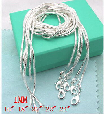 Wholesale 5Pcs Solid Sterling 925Silver Jewelry Snake Chains Necklaces Set 16-24