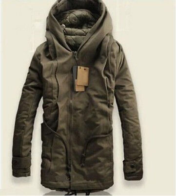 New Mens Military Trench Coat Hooded Parka Thick Cotton Outwear Jackets US M-5XL