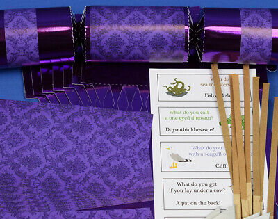 8 Purple Foil Damask Make & Fill Your Own Party Crackers Kit