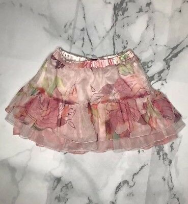 BABY GAP Girls Toddler Size 2 Years Pink Floral Tulle Skirt EUC