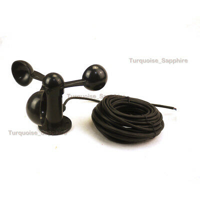 One Wind Speed Anemometer Three Cups Polymer Output 0-5VDC 30Ft/9M Cable  1-30