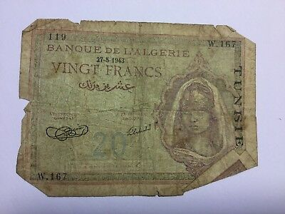 1943 Tunisia Twenty Francs Bank Note. Please See Pictures for Accurate Personal