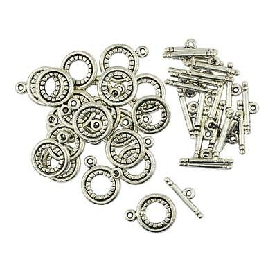 20 Sets Antique Silver Alloy OT Toggle Clasps Jewelry Findings for DIY Craft
