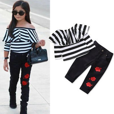 Kids Baby Girls Off Shoulder Striped Tops Flower Pants Clothes Outfit Set 2Pcs