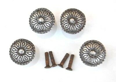Vintage cast iron floral cabinet drawer door knobs handles pull rustic 4pcs 1.2""