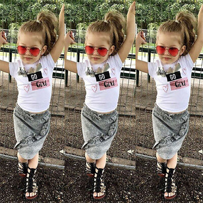 USA Toddler Kids Baby Girls Tops T-shirt Skirts Dress Outfits Clothes 1-5Y