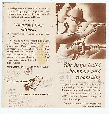 Southwestern Bell pocket advertising long distance telephone WWII 1943 FREE S&H